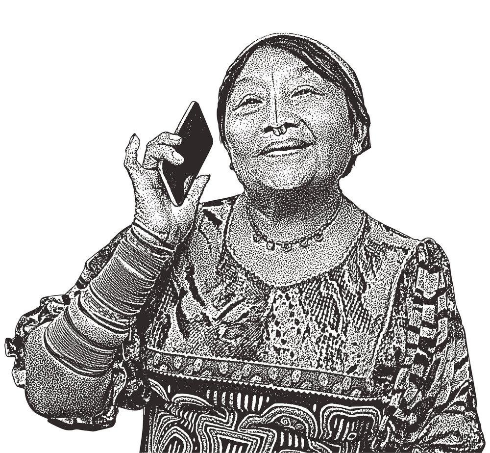 Kuna Woman Breaking Stereotypes. El Valle De Anton, Panama.