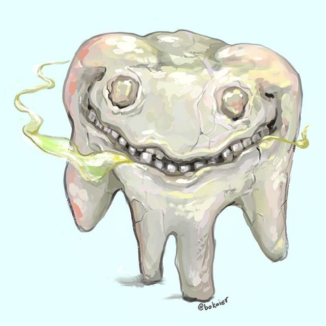 Sweet Tooth. #Drawtober 31. Done!  1.5 hours, iPad with stylus. #Bo365 sketchy art. | | #drawtober2017 #halloween #sweettooth #halitosis #deadtooth #drawing #illustration #artwork #artist #instadaily #igdaily #instaart #sketch #sketchaday #painting #digitalart #digitalpainting #instaartist #instadraw #artstagram #artistsoninstagram