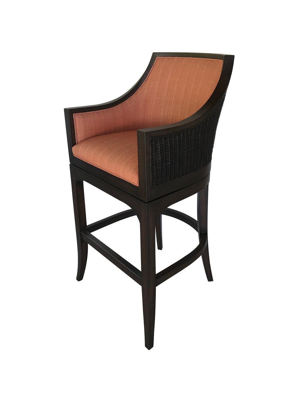 Outdoor barstool with caned back.