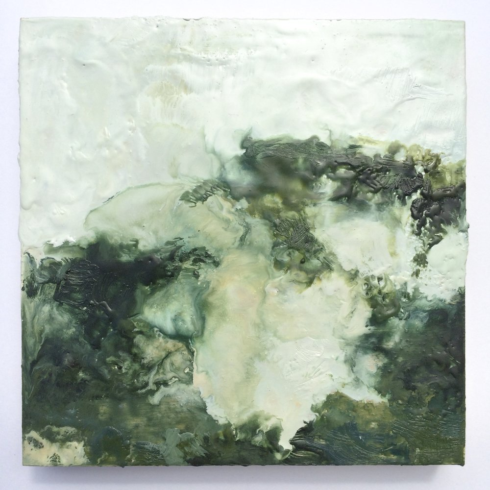 The sea's perspective Encaustic on wood panel 6x6 inches 2018