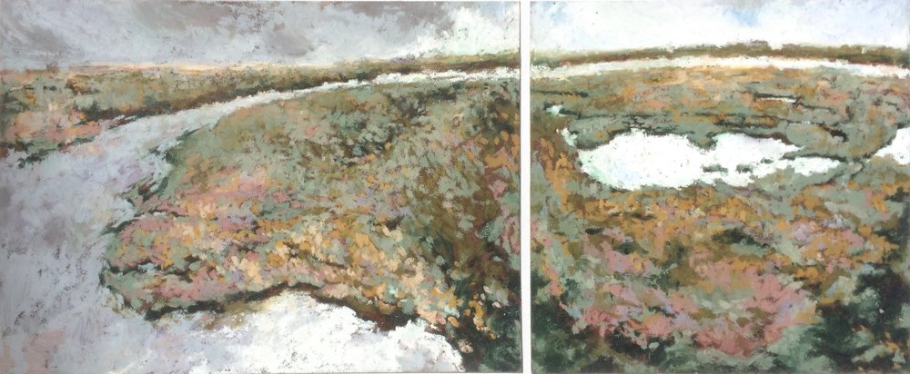Entrance and Marshland Diptych  Oil Pastel on Sennelier Carte  8.5x11.5 and 8.5x8.5  2018