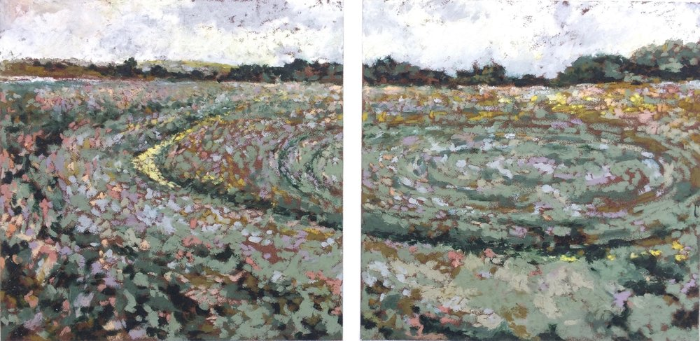 Inchlands I & II  Sennelier oil pastels on Carte 8.5x8.5 inches  2018
