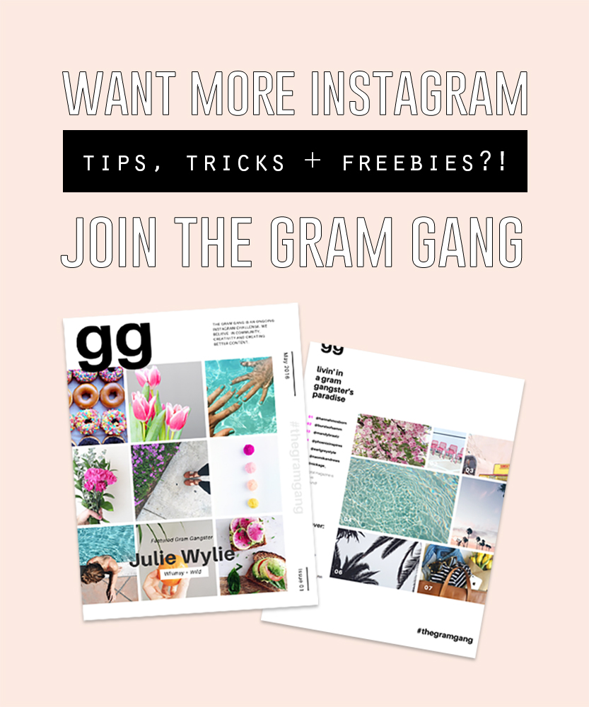 Join The Gram Gang Instagram Challenge Community for Instagram prompts, tips + tricks and network with an amazing group of creatives just like you!