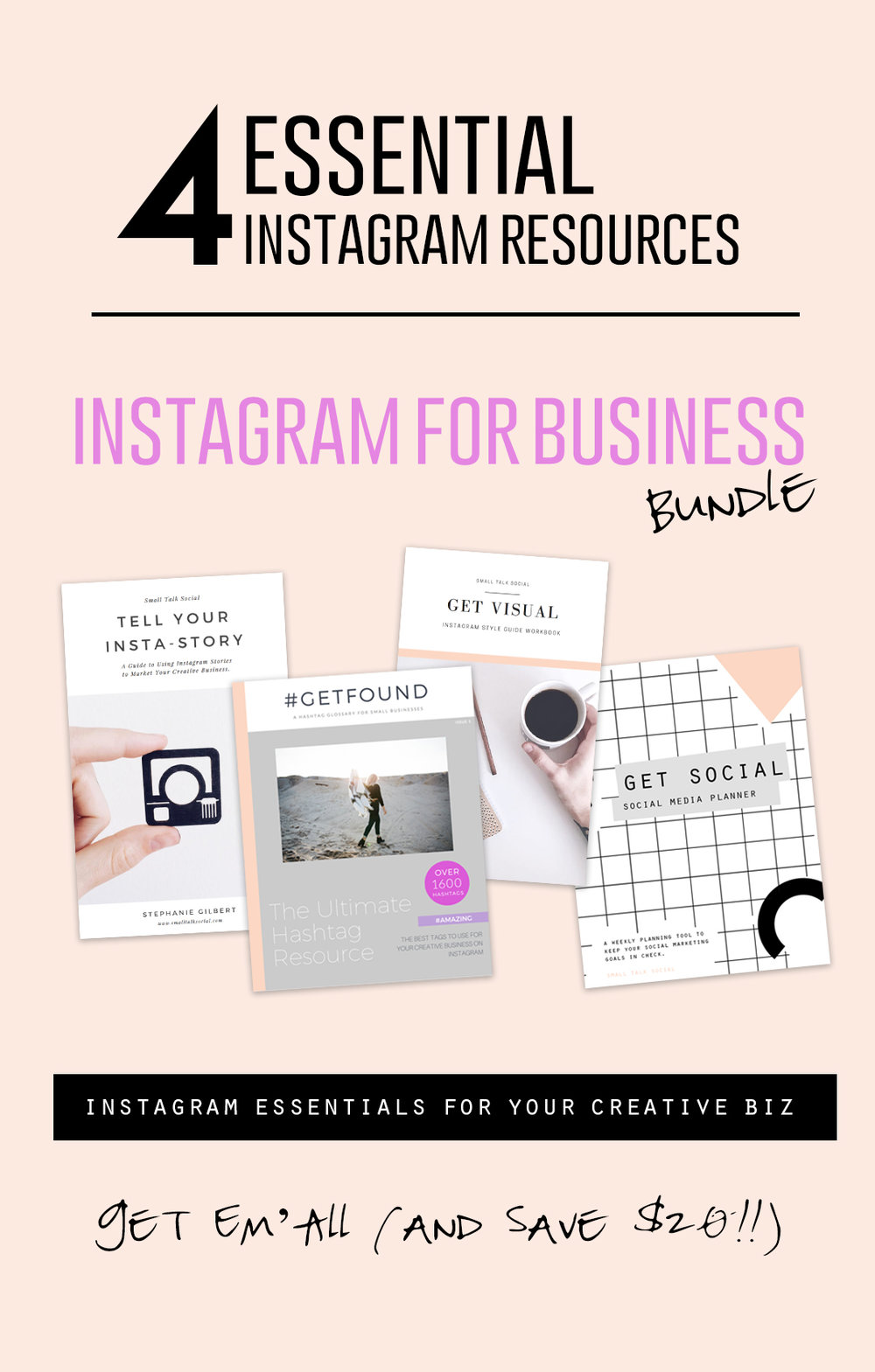 Instagram for Business Bundle : Get FOUR Instagram Resources together + save $20!!