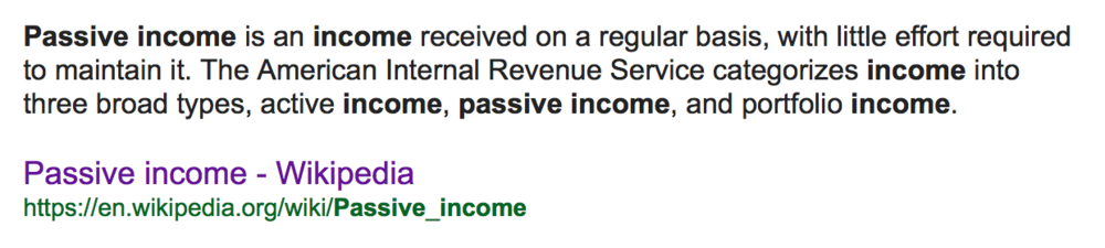 The definition of passive income is much better!