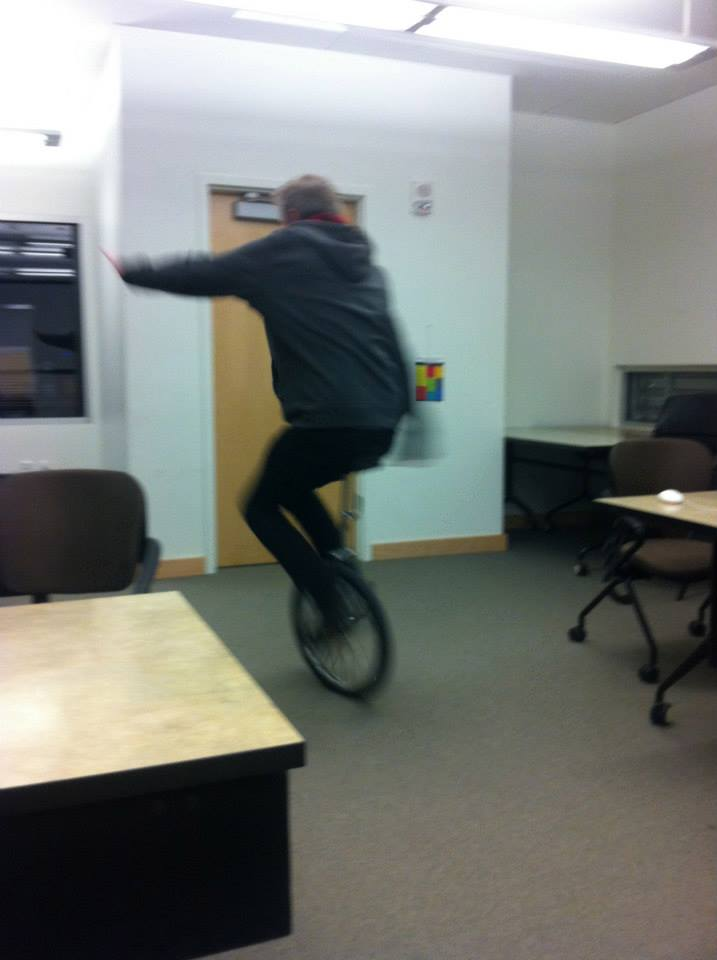Doug's unicycling skills are his best kept secret. He liked to ride mine while I was busy editing.