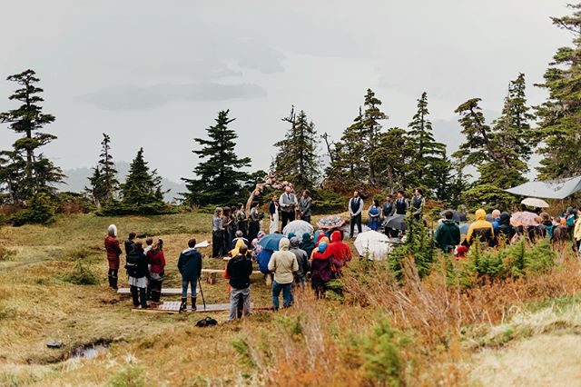 Did I cry in this ceremony or was it just the mountaintop misty drizzle? . The groomsmen and groomslady got up at the crack of dawn to build this ceremony set up atop Harbor Mountain in Sitka, Alaska. Guests were encouraged to dress for the weather, and watched their friends marry as the mist turned to rain and back to mist. Once in a while the clouds broke so that the epic view down to the water was visible. Cathryn read epic vows, the ceremony was filled with love, literature, and a sense of place, and we all cried. . #seakbride #sitka #alaska #ak #alaskawedding #sitkawedding #mountainwedding #alaskaelopement #rainywedding #pnw #pnwedding  #adventurewedding #kendallrock #kendallrockphotography #juneauwedding #juneau #haines #haineswedding #xtratuf