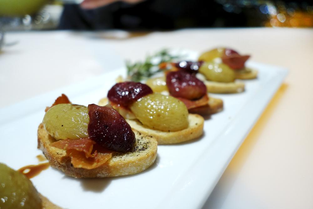 Roasted Grapes - Chevre - Prosciutto - Crostini