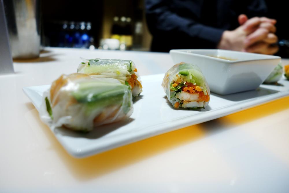 Lemongrass Prawn - cucumber - carrots- pea shoot - rice paper wrap