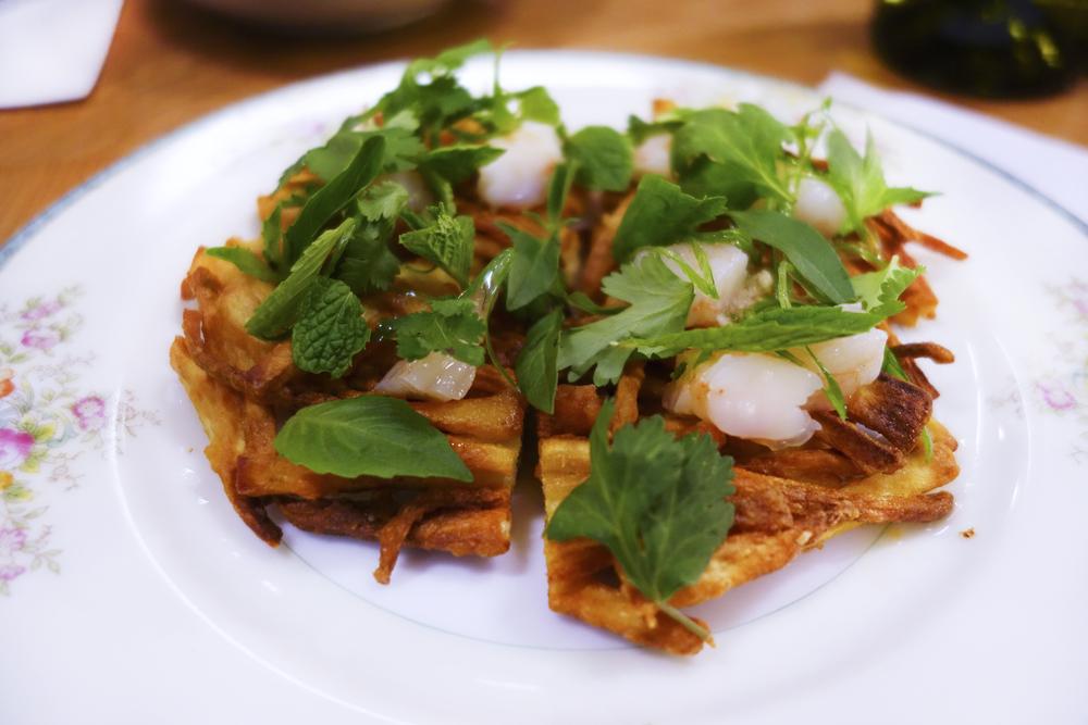 Crispy Sweet Potato, poached shrimp and fresh herbs