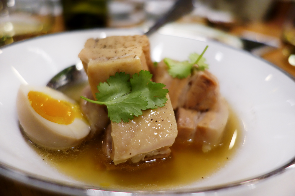 Braised pork belly in fresh coconut juice