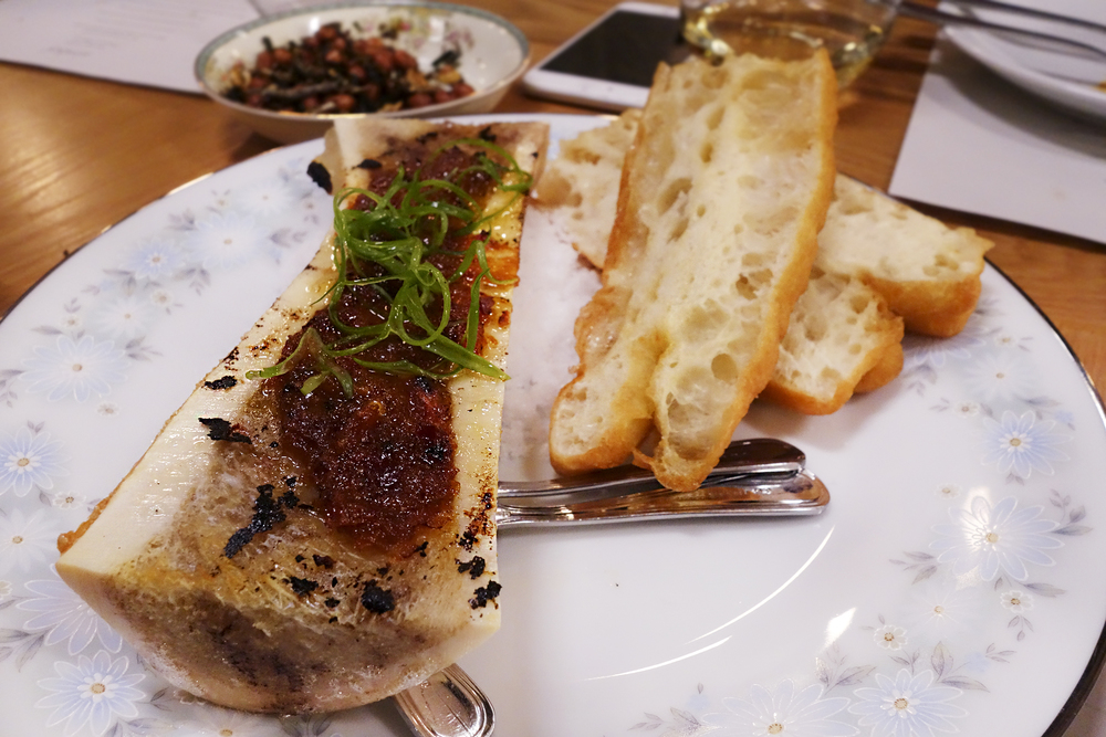 Roasted Bone Marrow with grilled chili jam, chinese donuts