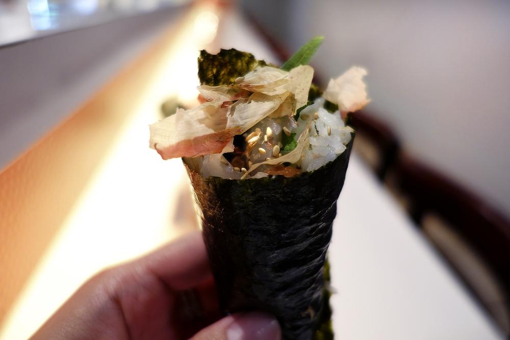 Bonito, Ume, Shiso and white fish