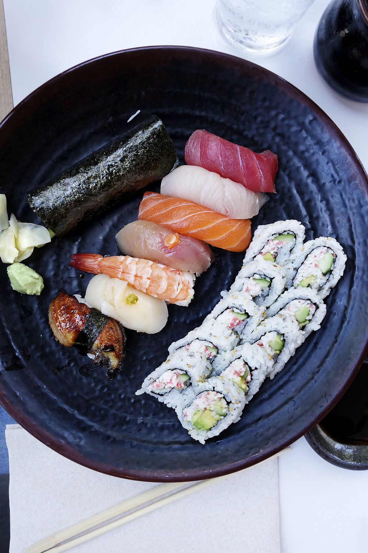 Sushi top to bottom: tuna, yellowtail, salmon, albacore, shrimp, scallop, and unagi