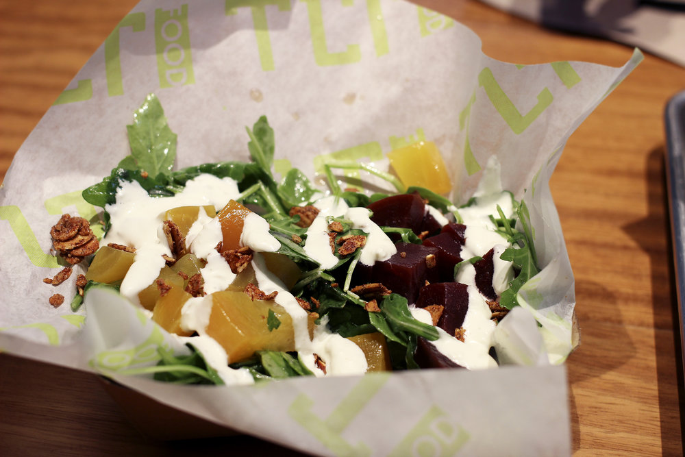 Beet Salad - Pickled Golden Beets, Roasted Red Beets, Arugula, Mint, Spiced Candied Almonds & Whipped Goat Cheese