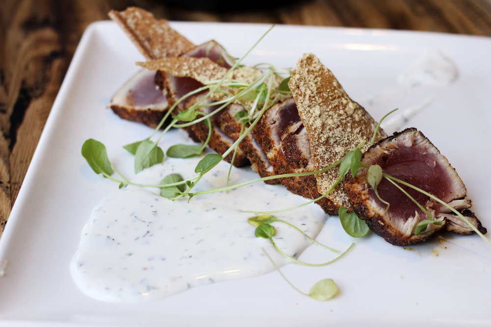 Grilled Ancho-Crusted Albacore Tuna -peppercress, pink peppercorn, lavosh, dill sauc