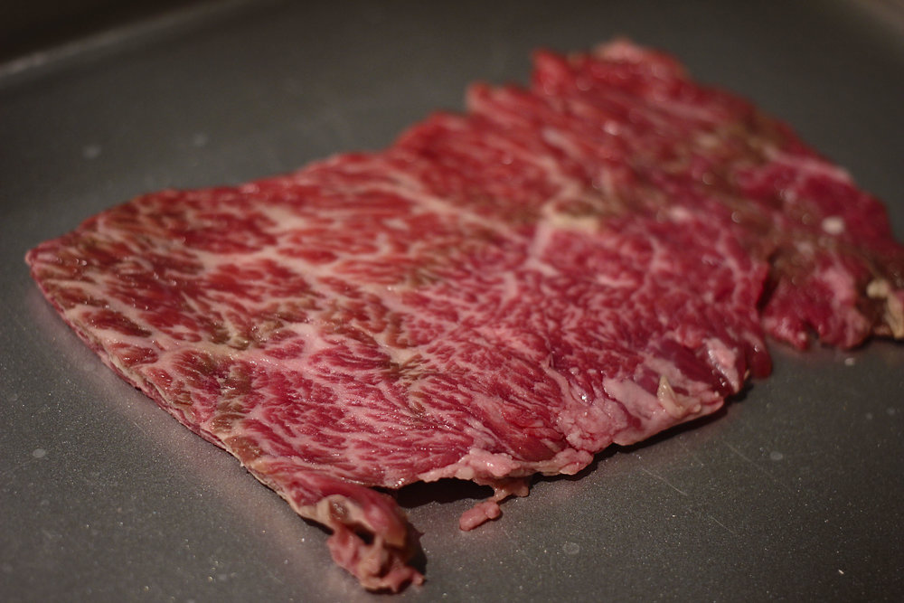 Skirt steak was extremely marbled.