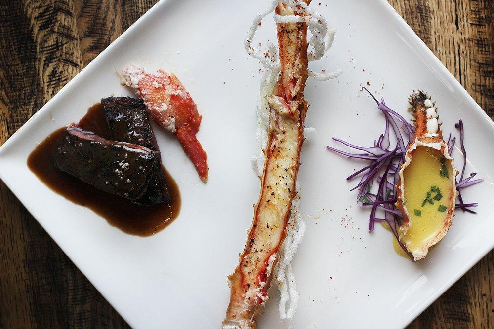 Smoked King Crab | Bernaise | Wagyu | Armagnac Sauce | Crispy Rice