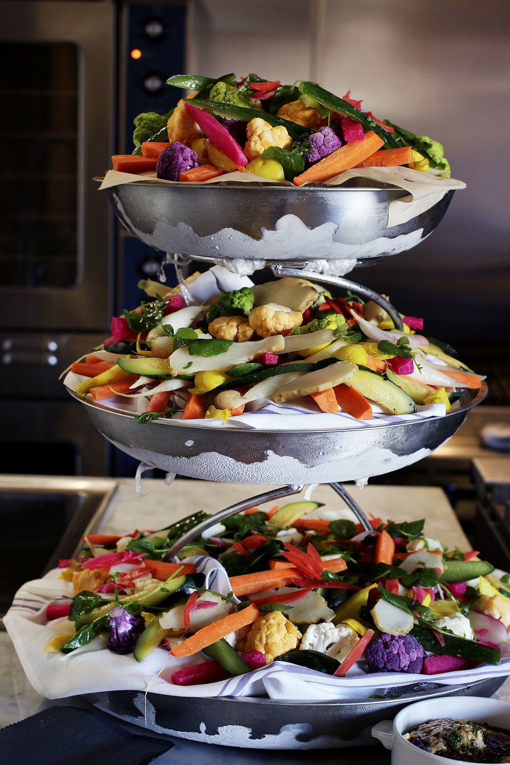 Amazing veggie tower with 2 dipping sauces.