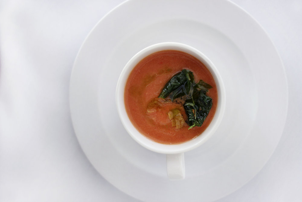 Pepper Tomato Gazpacho - Recommended to open your palate.