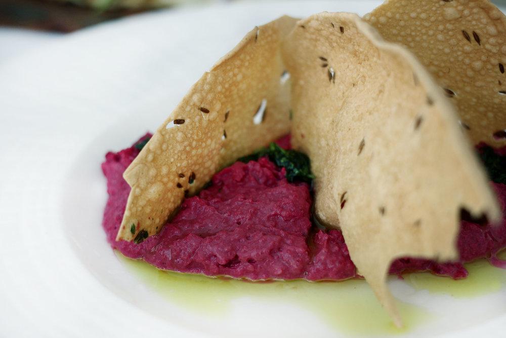 Beet Hummus - Toasted Cumin, Cilantro Pistou with Pappadam Crisps. ADDICTING.