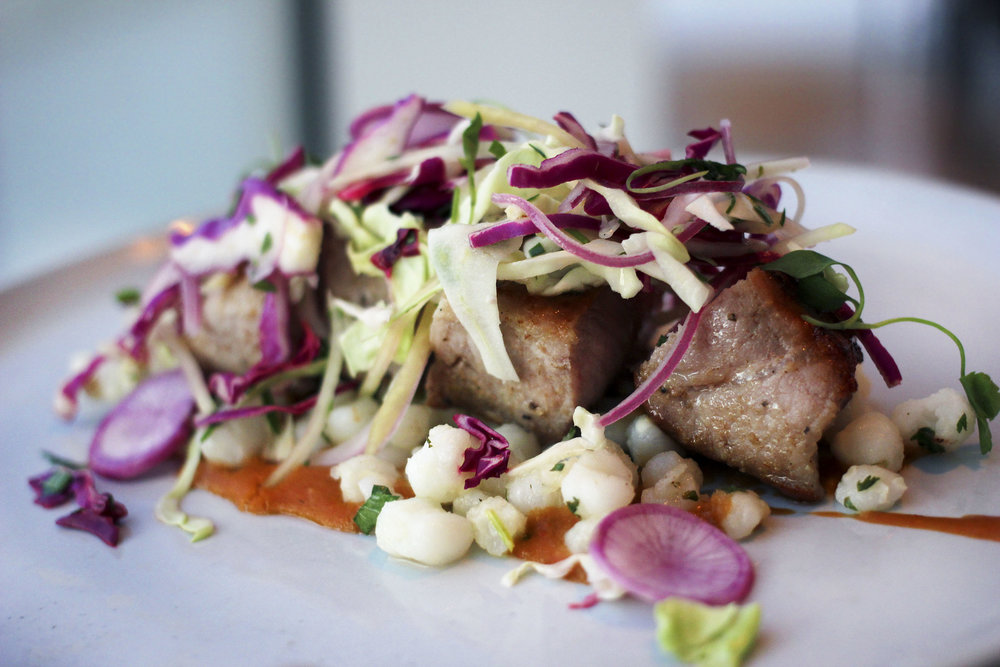 Chefs take on Pozole.PORK LOIN - Hominy, ancho puree, papaya cabbage slaw, cilantro. One of my favorite dishes.