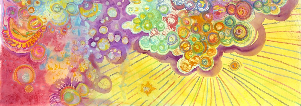The Love Particle, 2: The Soul Series; By, Maureen Claffy  23 x 60  $4500 watercolor and watercolor crystal with colored pencil on Arches rough paper