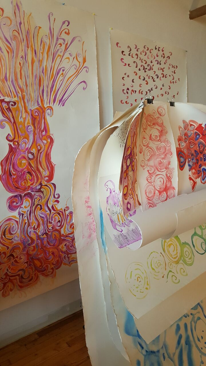 I work on heavy weight watercolor paper, birchwood panels and stretched canvas. Birchwood and canvas on stretchers are individually custom manufactured by hand.
