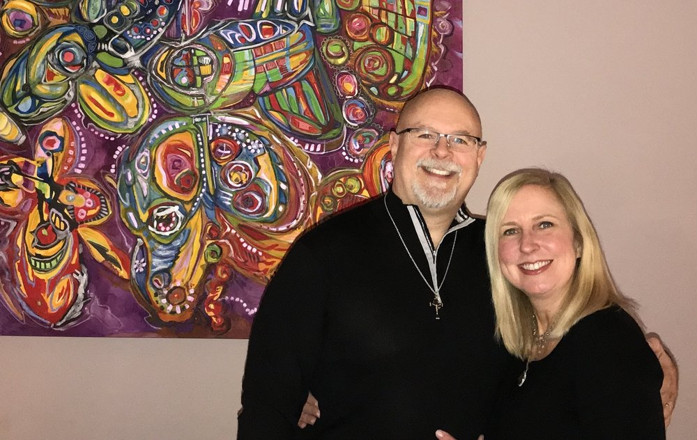 "Toni & Rob, with  The Butterfly,  a commissioned ""The Love Intention"" by fine artist Maureen Claffy"