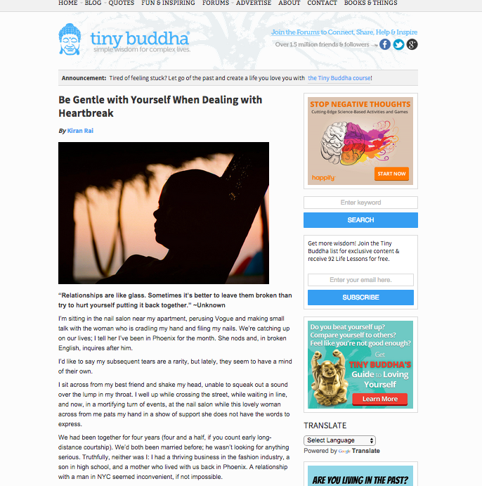 Tiny Buddha post ghostwritten by Amy Flyntz
