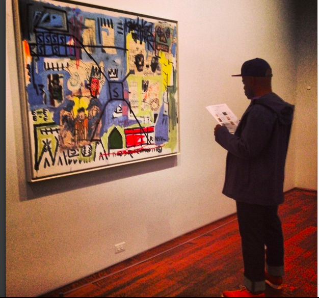 """An ingenius """"mess"""":Basquiat painting at Aquavella Gallery. Photographyby Amy Flyntz , displayed on her own Instagram feed."""