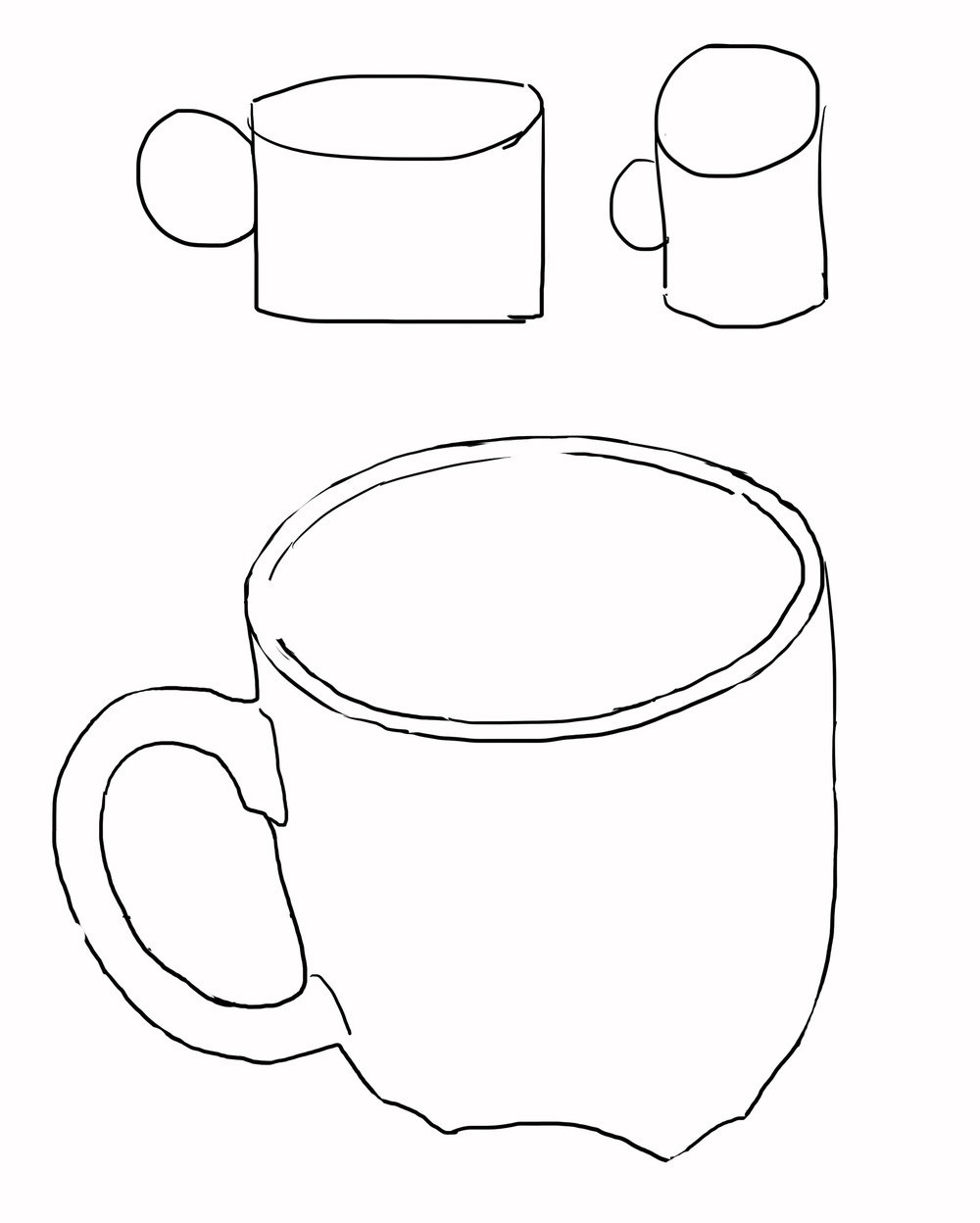 when you try to draw a cup for example you mind find yourself wanting to draw something like the two examples above when you look a real cup
