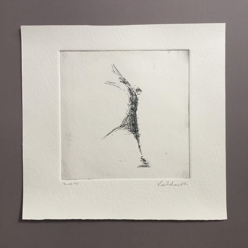 Verve. Original etching by Lithuanian artist Valdas Misevicius.