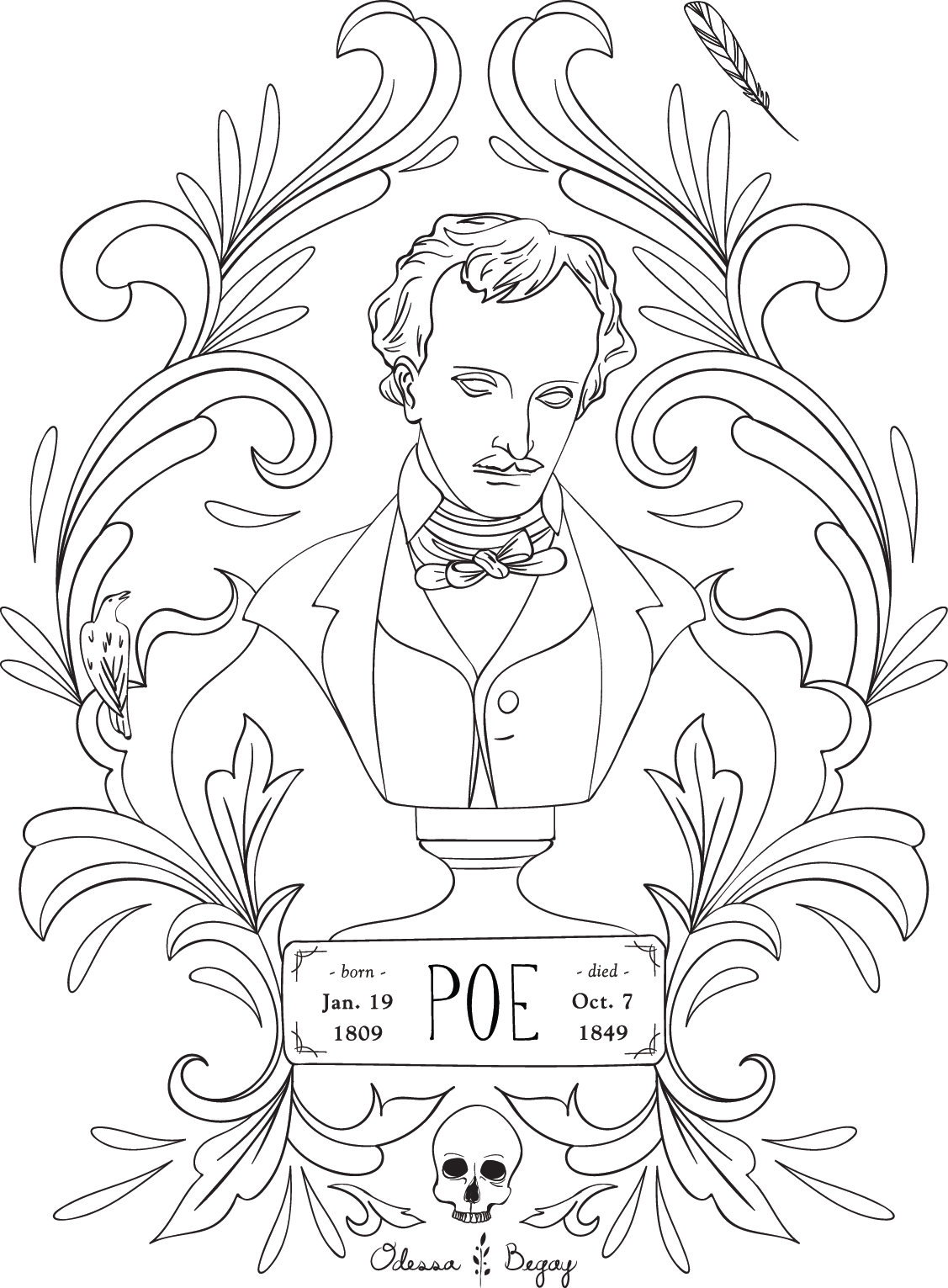 edgar allan poe coloring pages Free Coloring Page | Poe — Odessa Begay edgar allan poe coloring pages