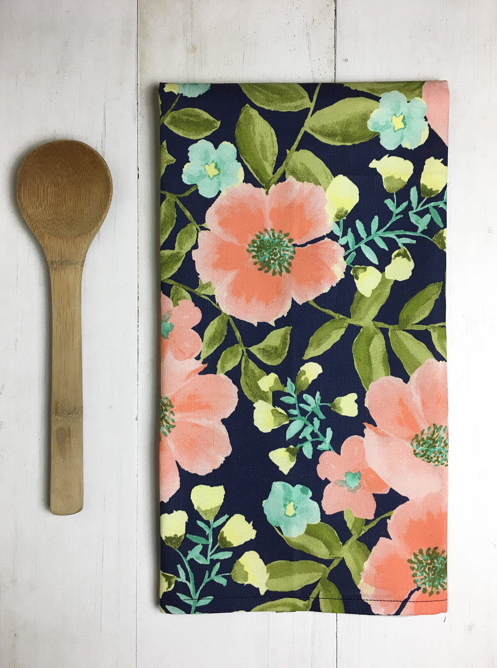Coral Floral Tea Towel