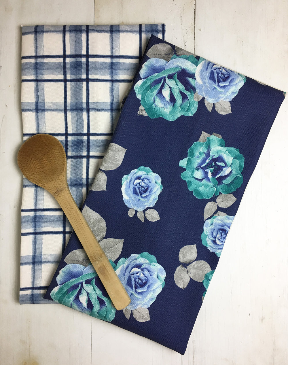Watercolor Plaid/Navy Rose Tea Towel