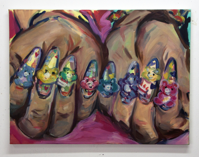 "Care Bear Mani (2013), Amy Wong Oil, acrylic on canvas 18"" x 24"""