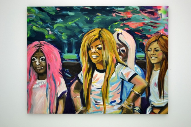 "Ganguro (2012), Amy Wong Oil, spray paint, acrylic on canvas 50"" x 37"""