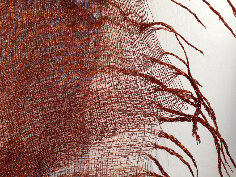 Net Worth (2014), Ruth Beer and Soledad Muñoz Detail of copper weaving Photo courtesy of the artist