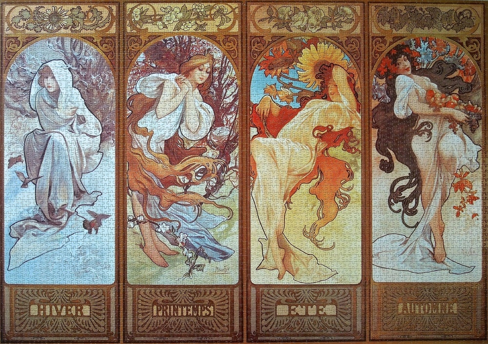 Completed Puzzle, Four Seasons by Mucha