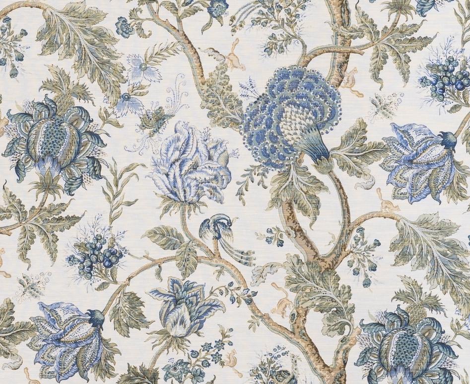 Dragon Flower - Green Blue Brown on Oyster — Bennison Fabrics