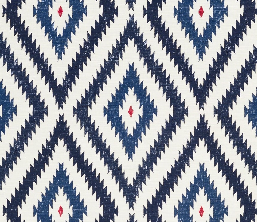 Aztec - Blue Red on Oyster — Bennison Fabrics