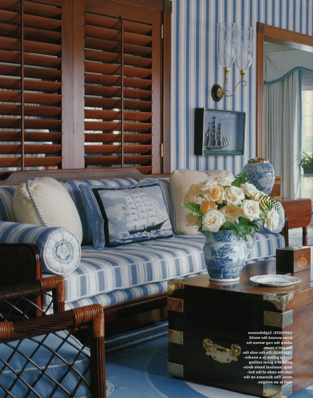 Pavilion Stripe - Mid Blue on Oyster