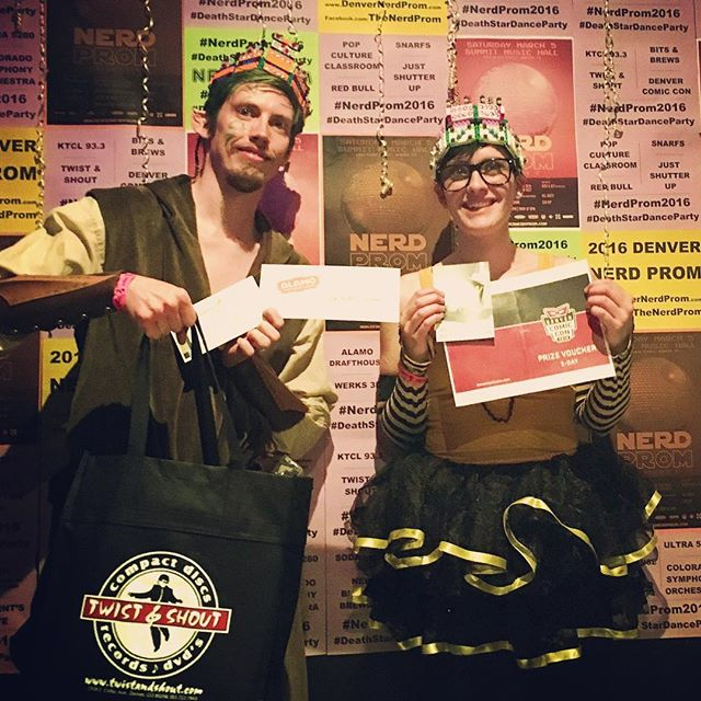 Congrats to our #nerdprom2016 King and Queen, Steven Sior and Kiri Robins! They walk away some custom Lego crowns and prizes from @denvercomiccon @twistandshoutdenver @dink_denver @alamodenver @coloradosymphony and the prestige of being Nerd Prom royalty.
