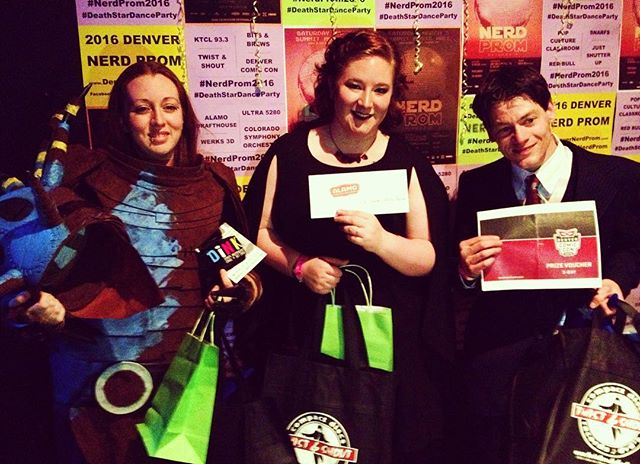 Also big shout out to our #nerdprom2016 King and Queen court. Jennifer, Ellie and Erik! They also walked away with some geeky goodies from @denvercomiccon @alamodenver @dink_denver @twistandshoutdenver