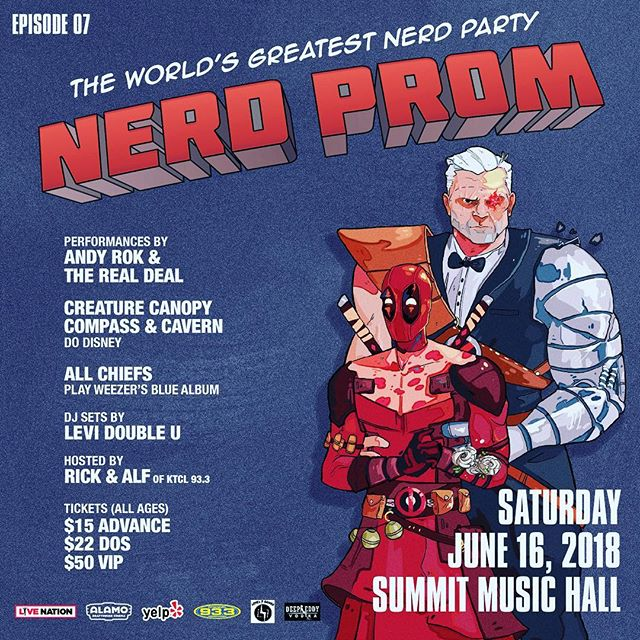 So we know we've been a little radio silent. We weren't sure if we were going to be able to pull off Nerd Prom for a 7th year in a Row. But the Stars Aligned and we are happy to announce#nerdprom2018 will be taking place During Denver Comic Con Weekend on Saturday, June 16th atSummit Music Hall!  TICKETS ARE ON SALE NOW!!! There are a limited number of $10 GA tickets available so get them before they are gone!