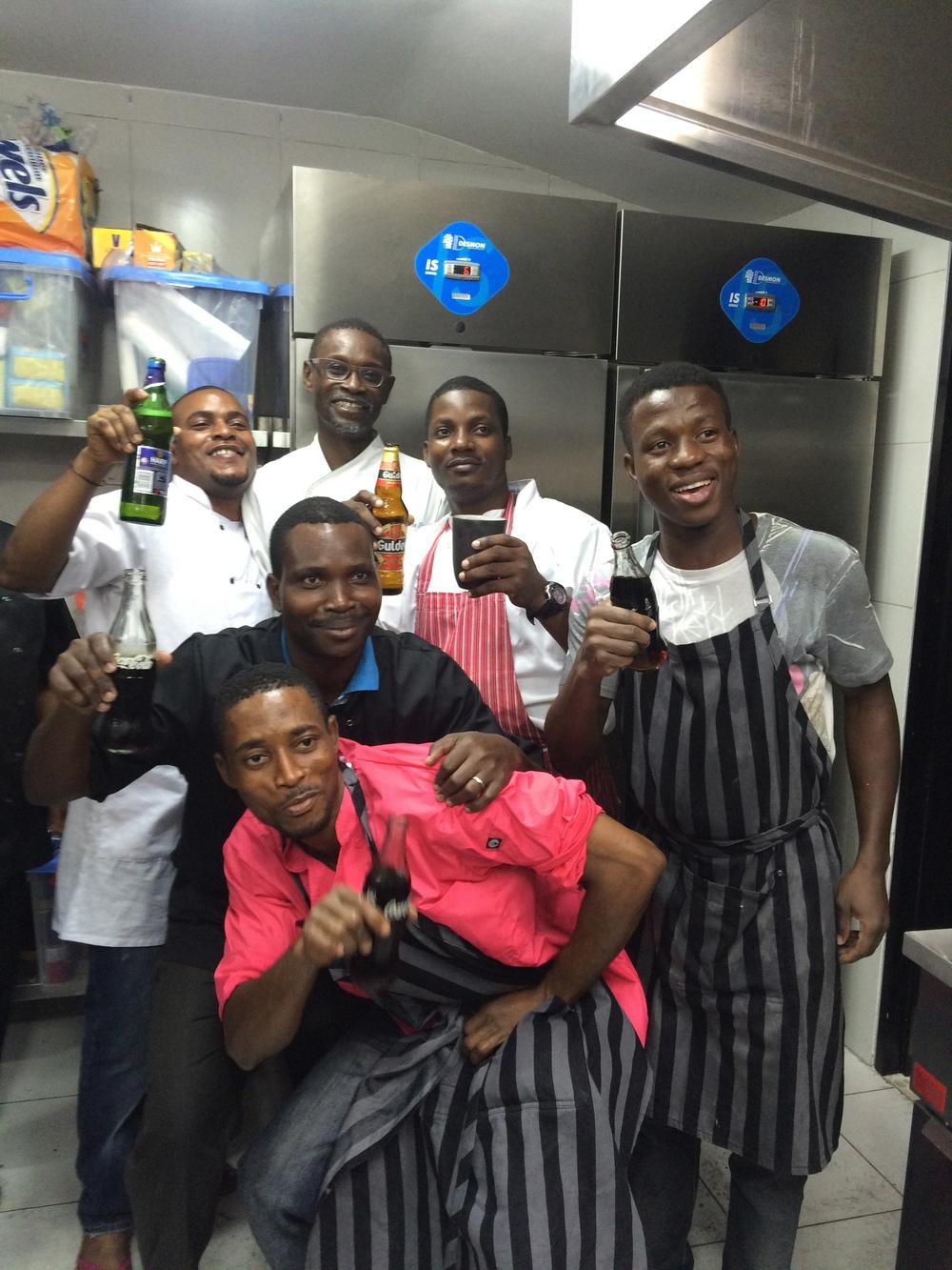 With kitchen crew at Nok (Nigeria)