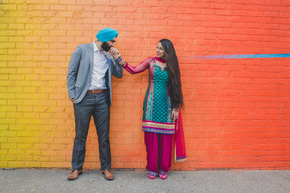 vibrant outdoor engagement session nyc