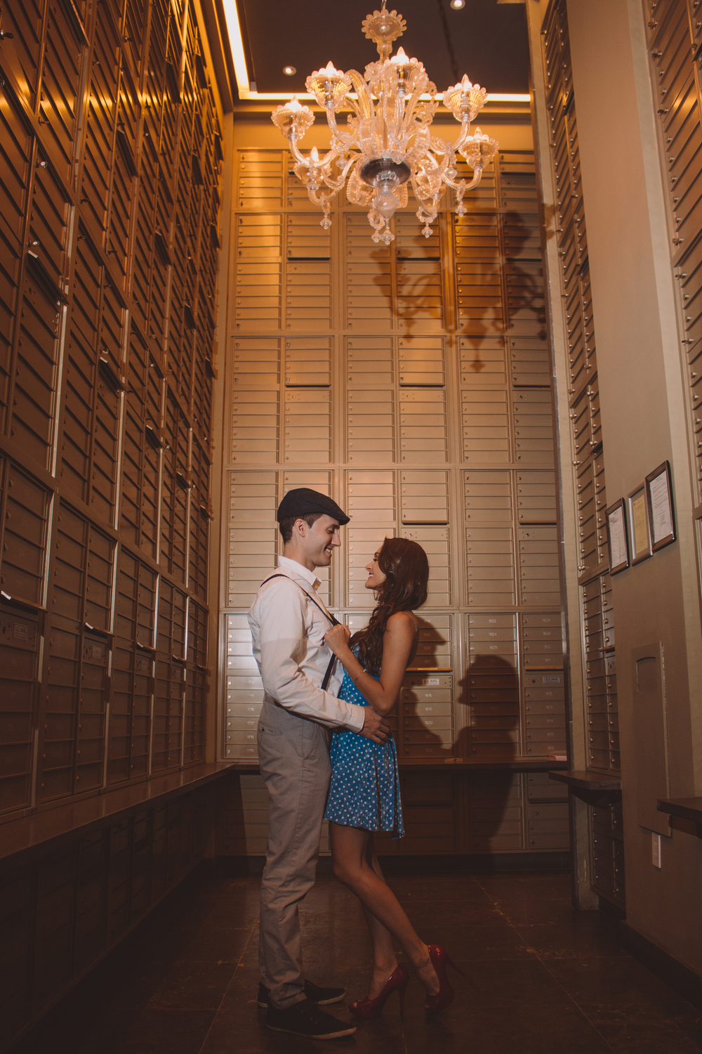 beautiful vintage mail room engaged couple