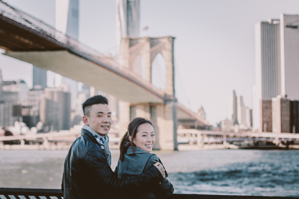 nyc skyline stylish engagement photography